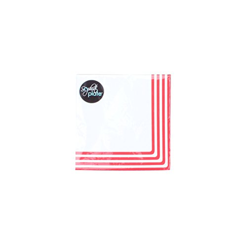 Sophistiplate Classic Disposable 3-Ply Paper Dinner Napkins, Red Stripe (Pack of 60)