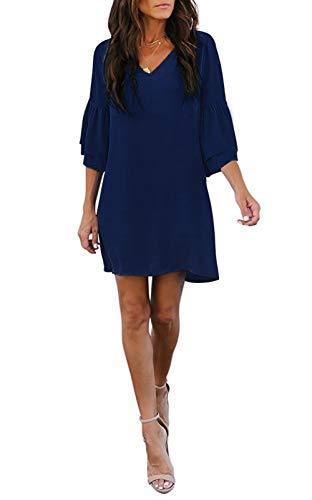 (noabat Navy Blue Dress for Women Cute Summer Bell Sleeves V Neck Casual Dresses Medium)