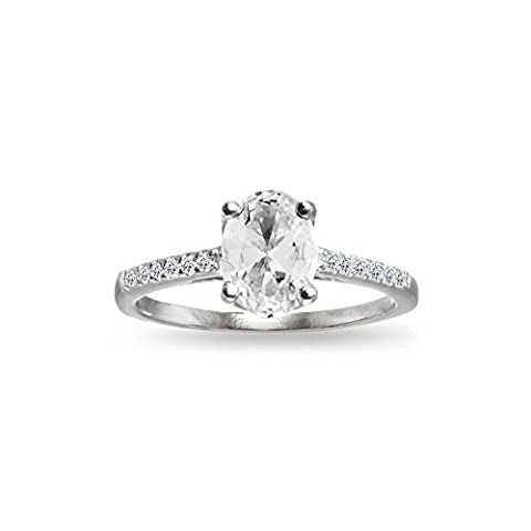 Sterling Silver Created White Sapphire Oval Crown Ring, Size 7 - Oval Created Sapphire Solitaire Ring