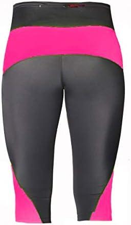Foxter Damen Fitness Kompressions-Caprihose Gym Workout Yoga Leggings Running Base Layer 3//4 Hose