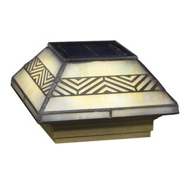 Deckorators Stained Glass Glass and Wood Solar Post Cap Light (Deckorators 158400)