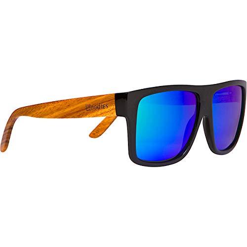 Woodies Zebra Wood Aviator Wrap Sunglasses with Polarized Lenses (Green)