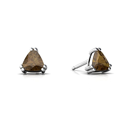 Quartz Trillion Earrings (14kt White Gold Smoky Quartz 5mm Trillion Trillion Stud Earrings)
