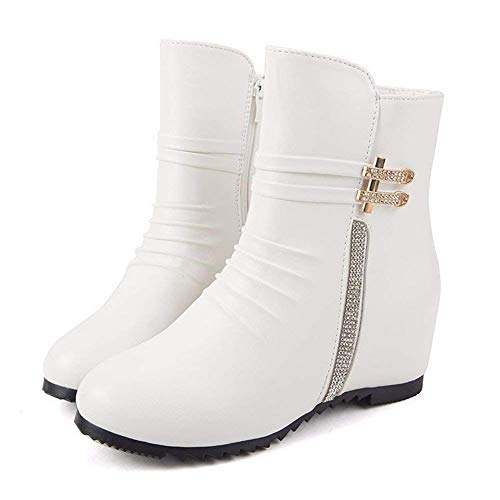 Winter Eu L'aumento All match Delle 's 35 Shoes Boots Diamond Sed Donne Zipper Tondo f6nTzRqzw