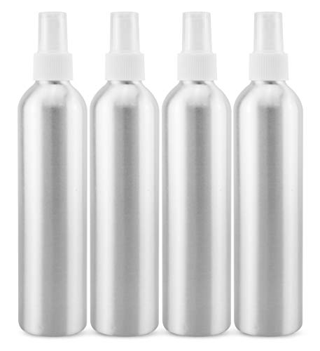 Cornucopia 8oz Aluminum Fine Mist Spray Bottles with Atomizers (4-Pack, w/White Caps); Metal Spritzer Bottles for Aromatherapy, Personal Care, and Sterilizing