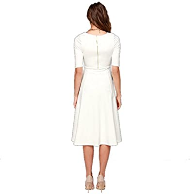 DANTIYA Women's Half Sleeve Elegant Back Zipper A-Line Knee Long Dress at Women's Clothing store