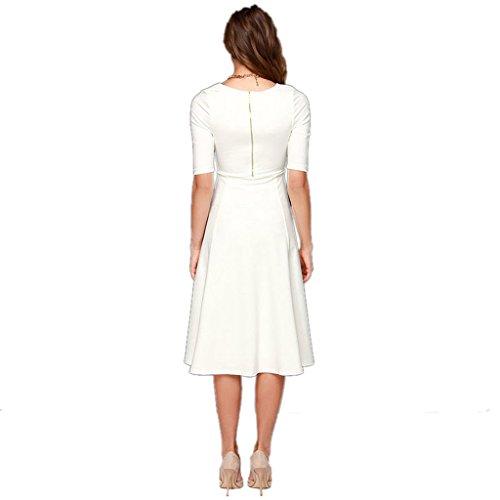 Back Sleeve Long Dress Zipper A Elegant Half Line Dantiya Knee Women's Ex6PII