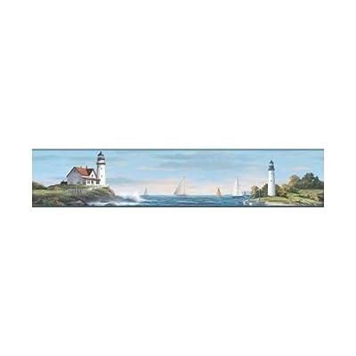 York Wallcoverings Nautical Living Sailing Lighthouse Border