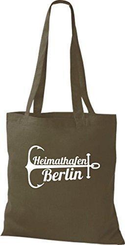 ShirtInStyle Bolsa de tela Bolsa de algodón Puerto Berlín Oliva