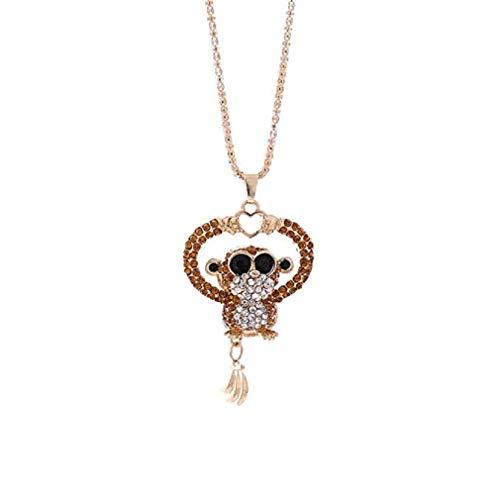 Noopvan Deals Mini Monkey Pendant Necklace Women Charm Colorful Cute Love Mini Monkey Rhinestone Necklace Jewelry (Coffee)