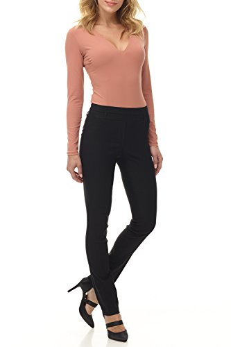 Rekucci Women's Ease in to Comfort Fit Stretch Slim Pant (12SHORT,Black)