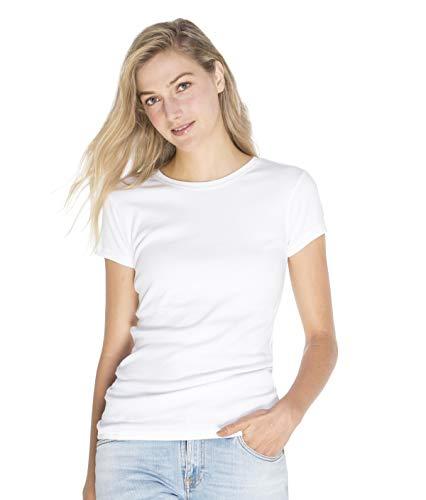 100% Organic T-shirts - SOIZZI Fashion Women Crew T Shirt, Slim Fitted. 100% Organic Cotton GOTS(R), Basic Crew Neck Short Sleeve Tee, White-L