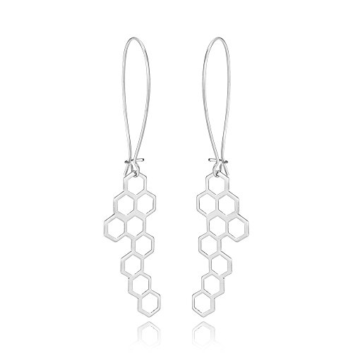 - 10K Gold Color Honeycomb Dangle Earring 3 Tone (silver)