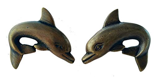 (Unique Dolphin Style Brass Cabinet Knobs (Left and Right) )