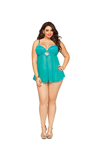 UPC 888208083311, Seven Til Midnight Women's Plus-Size Teal Appeal Mesh and Lace Babydoll, Turquoise, 3X/4X