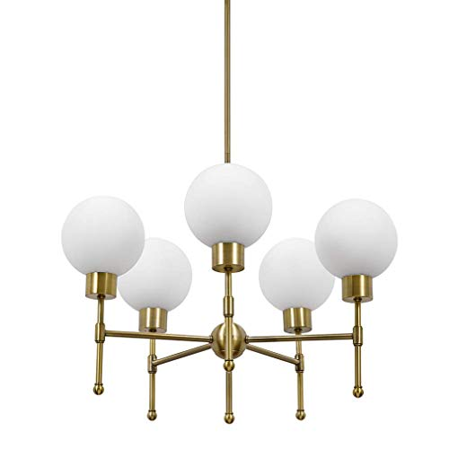 (Rivet Mid-Century Modern Opal Glass Globe Hanging Ceiling Pendant Chandelier Fixture With 5 LED Light Bulbs - 25 x 25 x 52.5 Inches, Gold)