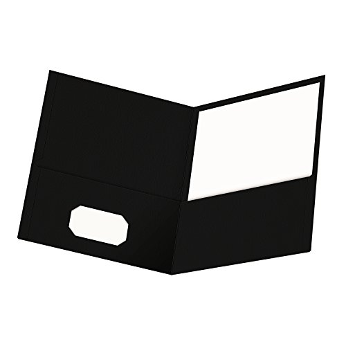 Oxford Twin-Pocket Folders, Textured Paper, Letter Size, Black, Holds 100 Sheets, Box of 25 (57506EE) ()