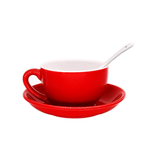 Porcelain Cappuccino Cups with Saucers, Porcelain Espresso Cups with Saucers, Coffee Drinks, Latte, Cafe Mocha and Tea ()