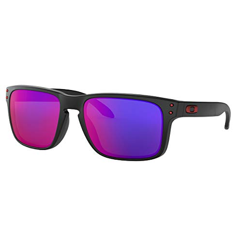 Oakley Men's OO9102 Holbrook Square Sunglasses, Matte Black/Positive Red Iridium, 57 mm from Oakley