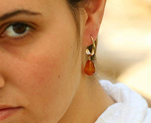 Short Dangle Gold Filled Threader Earrings with an Orange Teardrop Carnelian Gemstone, Everyday Boho Handmade Designer Jewelry, Unique Gift for Women