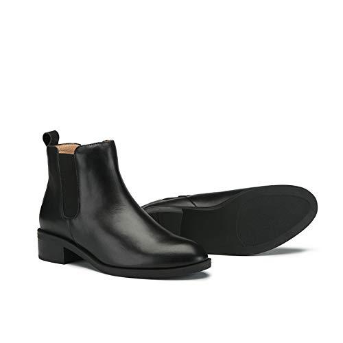 Avec Noir Femme Tête Plate Classique Bottes En Black2 Bottines Cuir Martin pExRf