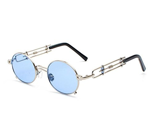 ovales Classique métal en Steampunk de Non soleil Vintage Fashion lunettes Keephen Argent polarisé Bleu BCxdzqPqw
