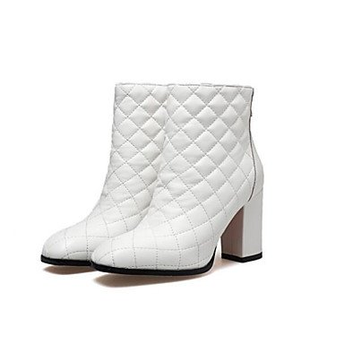 Combat Women's Black Leather Casual 4U For Boots Booties Boots Nappa Chunky Winter White Cowhide Ankle White Fall Best Boots Fashion Boots Shoes Heel vqp5xwH5nR