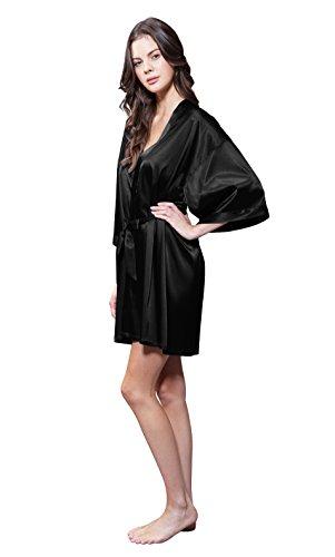 Turquaz Linen Satin Kimono Bridesmaids Robe (Large, (Satin Wrap Robe)