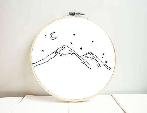 (Mountain embroidery hoop art Wanderlust bedroom decor Wall hanging Hand embroidered Nursery room gift designs)