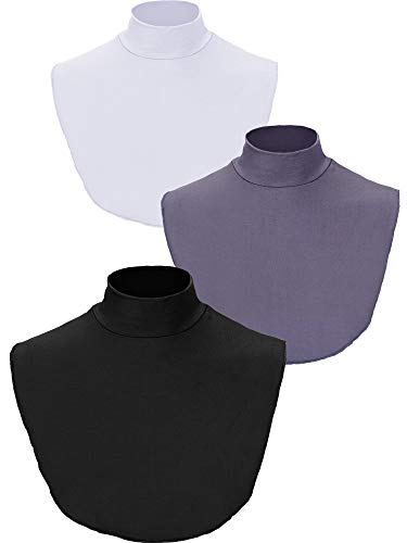- SATINIOR 3 Pieces Fake Collar Detachable Turtleneck Top Half Blouse Dickey Collar for Girls Women (Black/White/Grey)