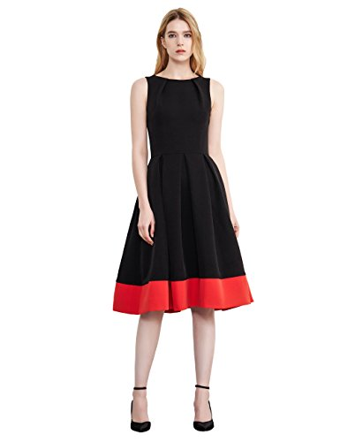Simple Retro Women's Cocktail Dress Vintage Sleeveless Boat Neck Pleated Party Formal Swing Dress