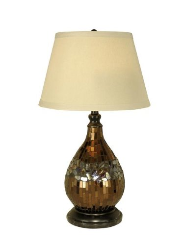Dale Tiffany PG10354 Mosaic Glass Dome Table Lamp, Dark Antique (Amber Glass Table Lamp)
