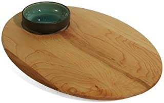 product image for J.K. Adams 12-Inch-by-9-Inch Maple Wood Single-Dish Bread and Oil Board, Ceramic Bowl Included by J.K. Adams