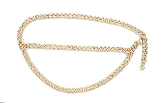 TFJ Women Metal Belt Hip High Waist Gold Metal Chain Links Strands Plus M L XL