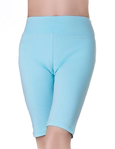 Sky Blue Shorts - ABUSA Women's Cotton Workout Bike Yoga Shorts - Tummy Control L Sky Blue