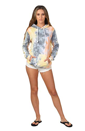 (Womens Pastel Tie Dye Hooded Pullover (Citrus Storm, Small))