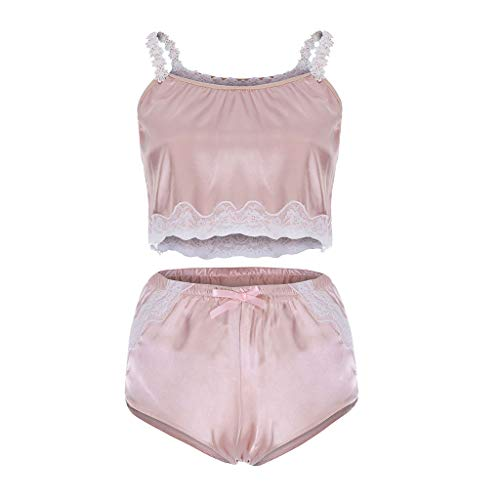 Womens Babydoll Sexy Lace Bow Passion Lingerie G-String Ice Silk Nightwear 2PC Set Plus Size (L3, Pink)