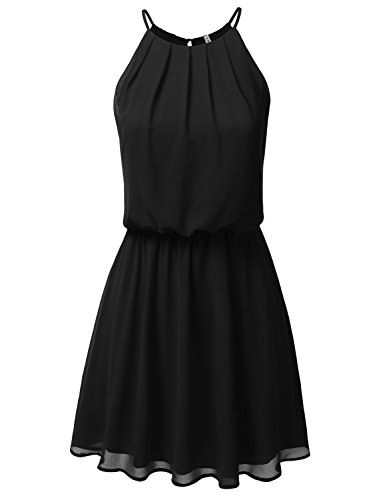 Cinched Tank Dress - CLOVERY Women's Double Layered Pleated Neck Cinched Waist Chiffon Mini Cami Tank Dress Black M