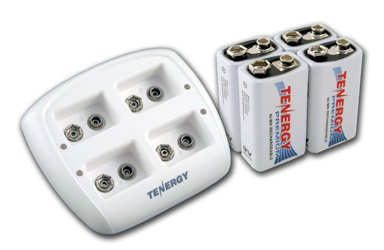 Tenergy TN136 4 Bay 9V Smart Charger with 4 pieces Tenergy Premium 9V NiMH Rechargeable ()