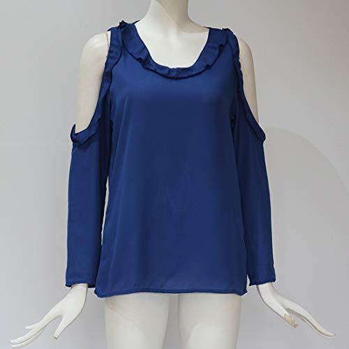 Gavemenget Hauts Automne Femmes Nu et T Manches Epaule Tops Chemisier Couleur Unie Tees Longues Royal Casual Blouse Bleu Shirts Shirts Printemps tEqIxrwE