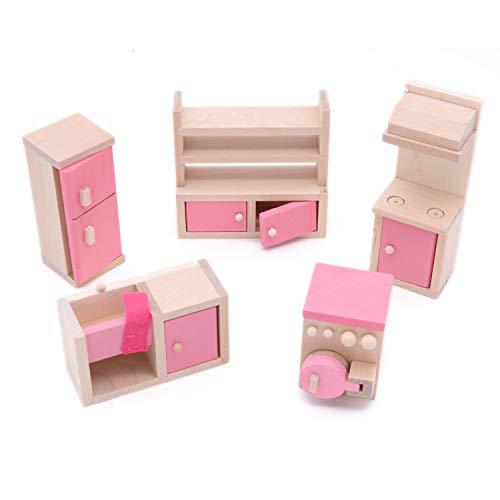 POFET Wooden Doll House Furniture Set Toy for Baby Kids Children Fridge Sink Cupboard Stove Washing Machine Kitchen Room