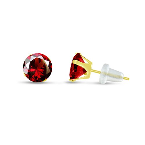 Round 7mm 10k Yellow Gold Simulated Red Garnet CZ Stud Earrings, January Birthstone, (4.34 cttw) (Earrings 7mm Birthstone January)