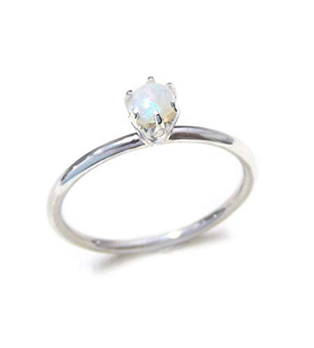 ZilverPassion Stacking Ring Prong Setting Round Opal Sterling Silver, October Birthstone Size 2-15