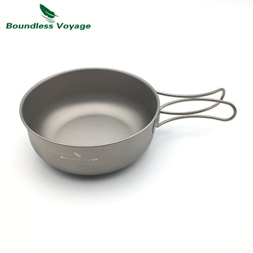 TJBGADIEMS Outdoor Ultralight 80.3g Titanium Bowl Cookware Picnic Camping Bowl Ti1574B(650ML )