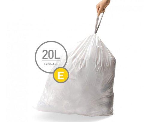simplehuman Code E Custom Fit Drawstring Trash Bags, 20 Liter/5.2 Gallon, 12 Refill Packs (240 Count) (Bags Trash Custom)
