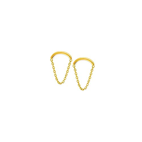 - 14k Yellow Gold Curve Wire With Drape Chain Earrings