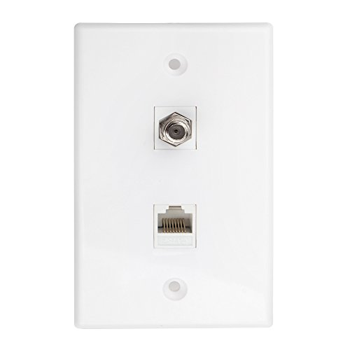 Cat5e Jack Wiring - TNP Coaxial Connector Ethernet Network Wall Plate Dual 2 Port Combo - Video Coax F Connector with Cat5 Cat5e Cat6 RJ45 RJ45 Jack Socket Wiring Plug Jack Decorative Face Cover Outlet Mount Panel