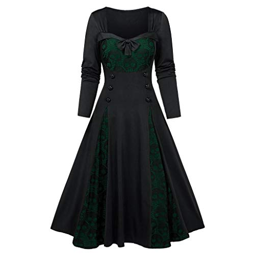 ✚Oldlover✚Halloween Dresses for Women Skull Print Lace Dresses Vintage Retro 1950s Style Swing Cocktail Dress Midi Dress Black from Oldlover-Women