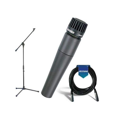 (Shure SM57-LC Cardioid, Dynamic Handheld Wired Microphone. - Bundle With 20' Heavy Duty 7mm Rubber XLR Microphone Cable - Samson MK10 Lightweight Boom Mic Stand)