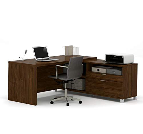 Bestar Pro-Linea L-Desk, Oak Barrel